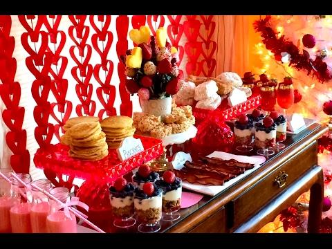 Valentine's Day Breakfast Brunch Buffet Table