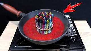 EXPERIMENT What Happen if You Drop CRAYONS into HOT PAN