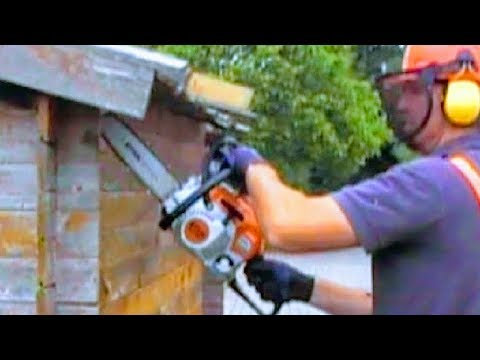HOW TO TEAR DOWN HUT WITH CHAINSAW | DEMOLISH SHED WITH STIHL SAW TO MAKE FIREWOOD