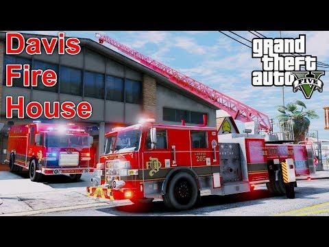 GTA 5 Firefighter Mod - New Davis Fire Department Ladder, Engine & Rescue