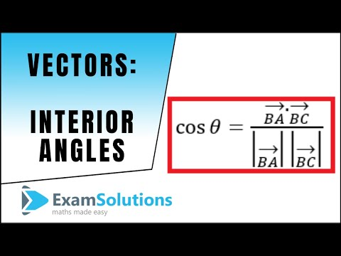 Vectors : Finding the interior angle of a triangle : ExamSolutions Maths Revision