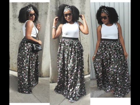 DIY MAXI SKIRT WITH ELASTIC WASTBAND || SEWING MADE SIMPLE