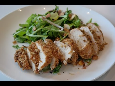 Baked fried Chicken  - Low calorie chicken breast with a garlic and crouton coating