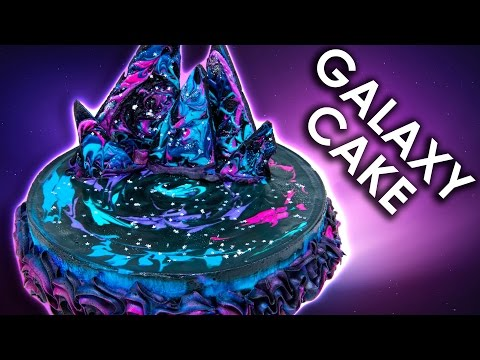 Galaxy Ice Cream Cake w/ Galaxy Chocolate Bark and Galaxy Buttercream Icing