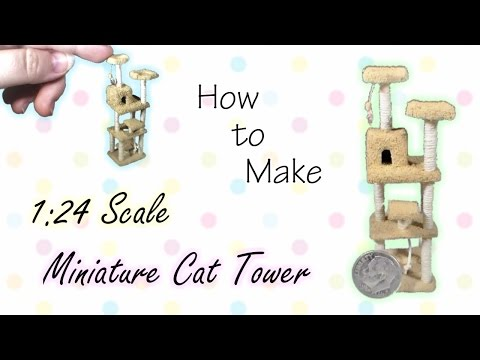 Miniature Cat Tower Tutorial | Dollhouse | How to Make 1:24 Scale DIY