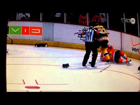 NHL '14 - One Punch Knockout + Goalie Fight ! - NEW FIGHTING ENGINE