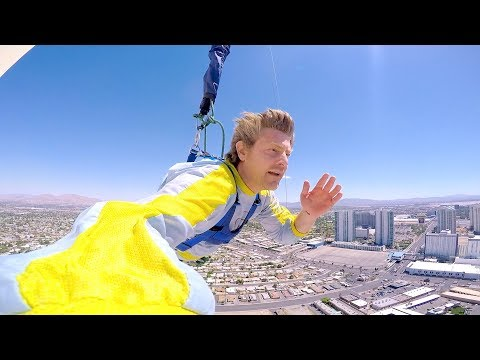 JUMPING OFF A 1200 FOOT ROOF!! (VEGAS HOTEL)