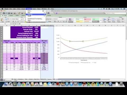 EOQ Calculation, Graph, Tables, Limits & Levers (w/Excel)