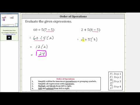 Order of Operations: Simplify 60/5(7-5) and 2+5(8-5)