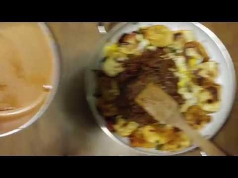 POTATO + CHEDDAR CHEESE PIEROGIES PEPPERS ONIONS + EGGS + BLACK BEAN CHILI