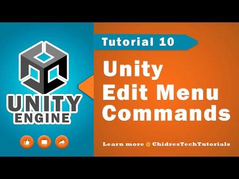 Unity Essentials Tutorial 10 - Edit menu