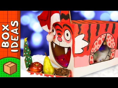 Decorating The Tiger Cat House For Christmas | DIY Crafts for Kids on Box Yourself