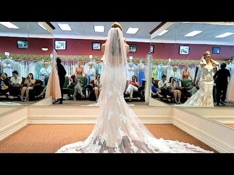 TRYING ON WEDDING DRESSES!