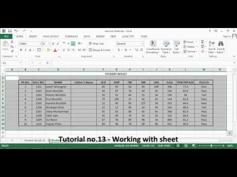 Microsoft Excel. Tutorial no 13. Working with sheet By Khezer Mustafa in Hindi/ Urdu