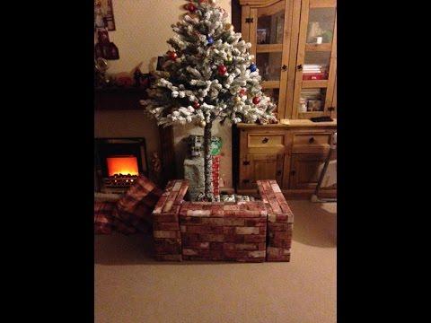 A home-made wall or a fence around a Christmas Tree