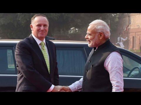 New Zealand PM John Key Meets PM Modi At Rashtrapati Bhavan