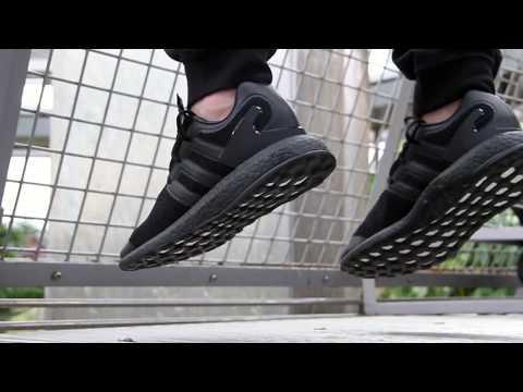 2c9f06eda672 Y3 Pureboost Triple Black Sneakers On Foot Feature
