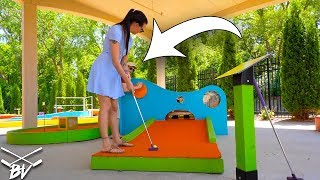 I HAVE NEVER SEEN A MINI GOLF HOLE LET YOU DO THIS! + DOUBLE HOLE IN ONE!