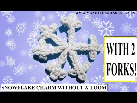 HOW TO MAKE SNOWFLAKE CHARM WITH 2 FORKS. WITHOUT RAINBOW LOOM. VIDEO TUTORIAL DIY