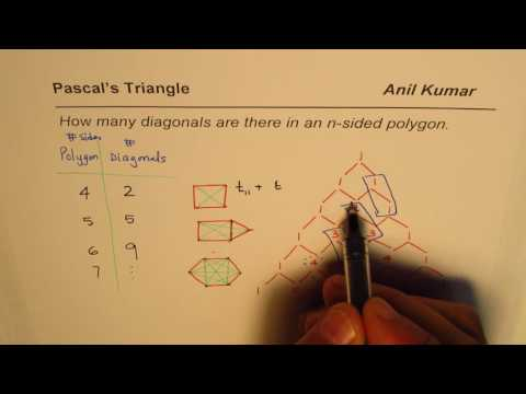 How many Diagonals are there in n sided Polygon Pascal Triangle