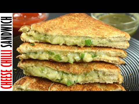 Cheese Chili Sandwich  Recipe / Chilli Cheese Toast