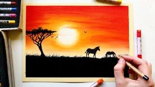 تعليم رسم منظر الغروب بالبالستيل How To Paint Sunset With Pastels