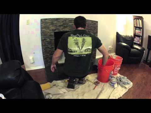 DIY Fireplace Remodel Timelapse (Day 6 of 6) - Drywall, Stone and Granite Installation