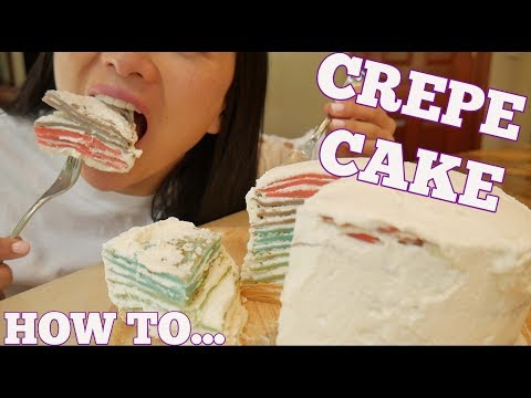 EASY RAINBOW CREPE CAKE RECIPE (*LETS EAT) | SASVlogs