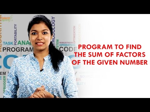 Program to find the Sum of Factors of a Number | Java Programming | TalentSprint