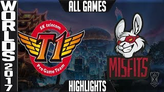 SKT vs MF Highlights ALL GAMES - Worlds 2017 Quarterfinals - SK Telecom T1 vs Misfits ALL GAMES