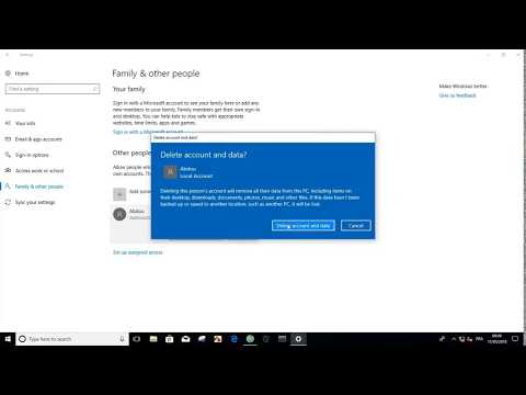 How To : Delete an account Windows 10