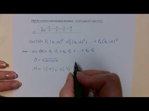 Expected value, Variance, Standard deviation
