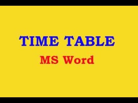 How to Create Time Table in MS Word Telugu