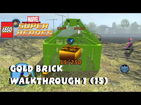 Gold Brick Walkthrough #1 (15 Gold Bricks in Free Play)  - Lego Marvel Super Heroes
