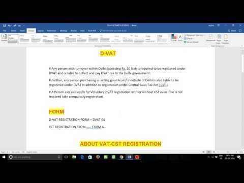 D-VAT  TIN REGISTRATION PART A  dvat 04 - sale tax @ hindi