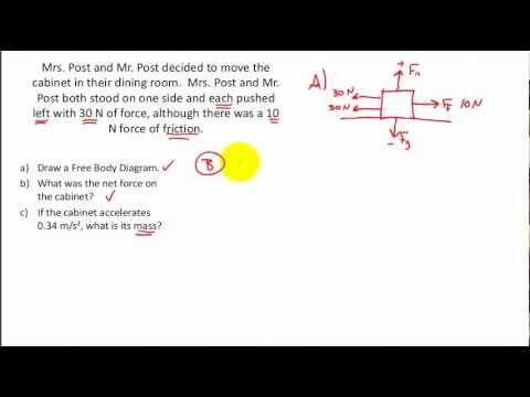 NET FORCE PRACTICE PROBLEMS- Calculating the Net Force, Free Body Diagrams, F = ma
