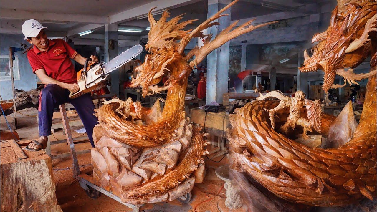 Wood carving - Lord Warrior fighting Dragon - Multiplatform MMORPG Gran Saga Huge Sculpture Amazing