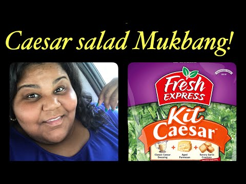 Caesar salad Mukbang ( with salmon & shrimp)