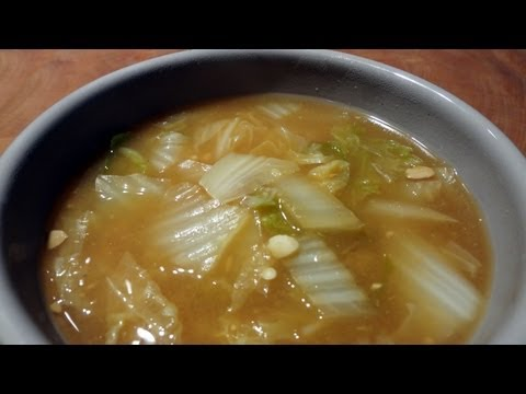 Cabbage and soy bean paste soup (