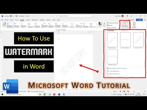 How to Use Watermarks in Microsoft Word 2016 Tutorial | The Teacher