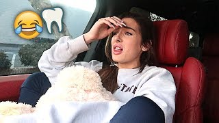SHE GOT HER WISDOM TEETH PULLED OUT!! *FUNNY SURGERY AFTERMATH*