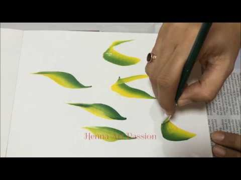 Learn various leaves in one stroke painting