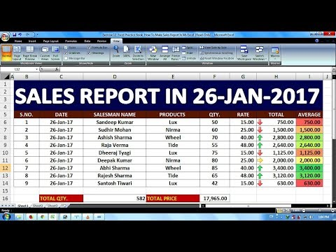Exercise 12 | Excel Practice Book | How To Make Sales Report In Ms Excel