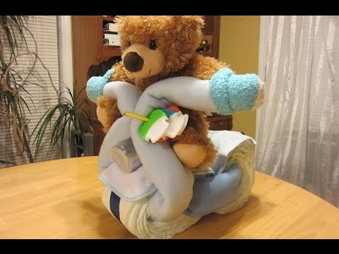 Baby Shower Motorcycle Baby Diaper Craft - How to make a Diaper Cake