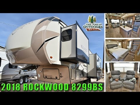 New Island Kitchen 2018 ROCKWOOD 8299BS Fifth Wheel Camper RV Rear Living Room