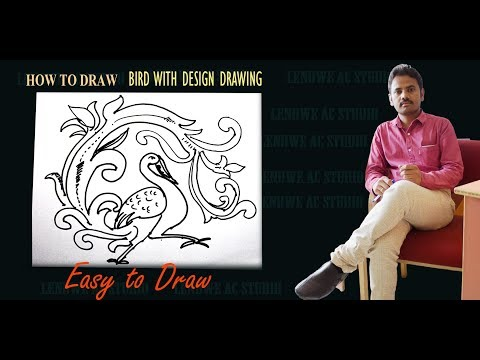 How To Draw FREE HAND DESIGN WITH BIRD