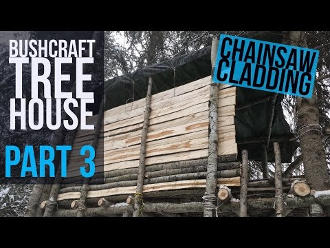Bushcraft Tree House Part 3 - Bushcraft Shelter - CHAINSAWS!  - Winter Camping