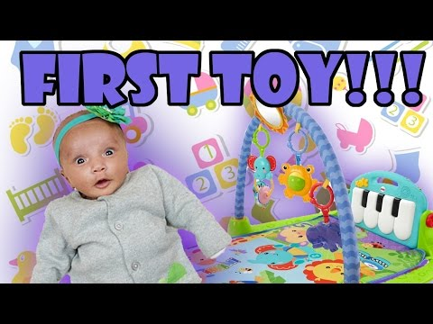 Toy Review - Baby Plays with First Toy - Fisher-Price Kick and Play Piano Gym