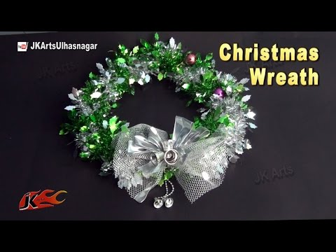 DIY Christmas Wreath with Tinsel Garland | How to make a holiday wreath decoration | JK Arts 828