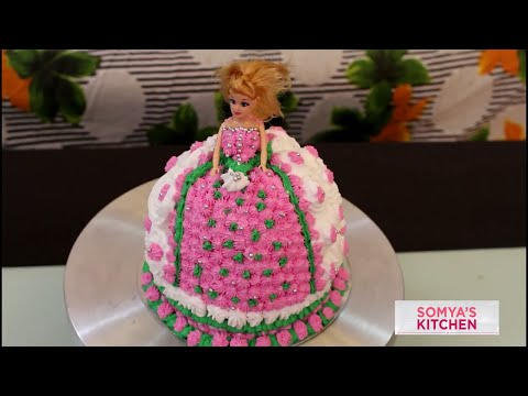 Perfect Homemade Eggless Strawberry Doll Cake Recipe in Hindi For Beginners Tutorial/birthday party